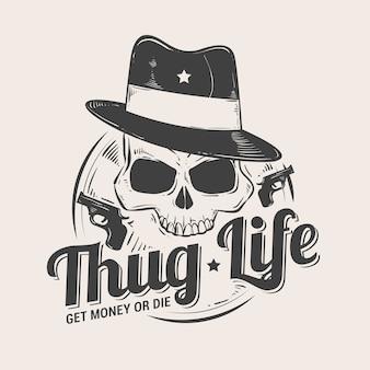 Retro logo mafia gangstera tło