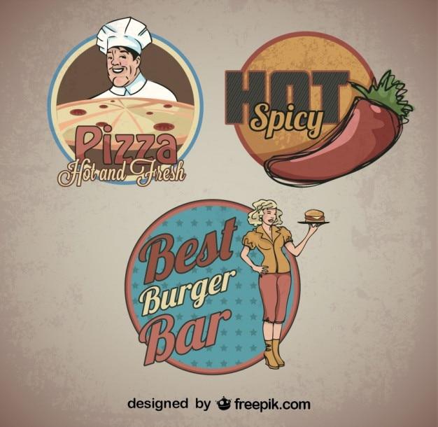 Retro logo naklejki szablony jedzenie