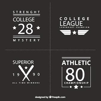Retro logo zestaw sportowych uczelni