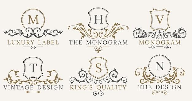 Retro luksus królewski rocznika tarcze zestaw logotypów