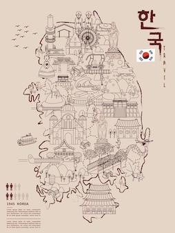 Retro mapa podróży korei południowej - korea w koreańskich słowach w prawym górnym rogu