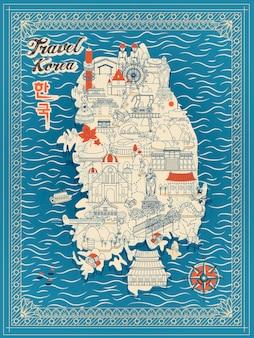 Retro mapa podróży korei południowej w stylu cienkiej linii - korea w koreańskich słowach w lewym górnym rogu