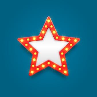 Retro marquee pusta ramka i strzałka ikony próżności filmu, kasyna i teatru.