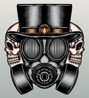 Retro maska gazowa z czaszką w ręku wyciągnąć