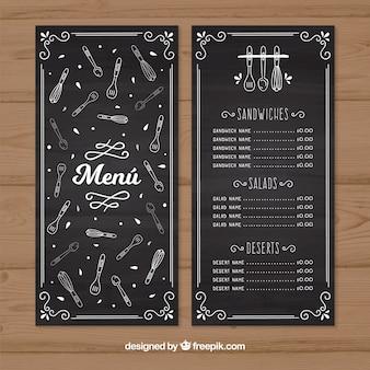 Retro menu restauracji z szkicami