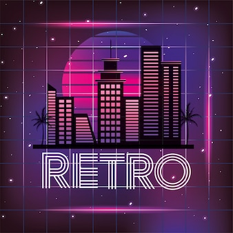 Retro miasto z graficznym neonowym stylem