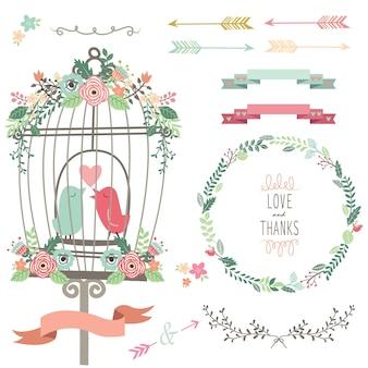 Retro miłość klatka dla ptaków i kwiaty ślubne