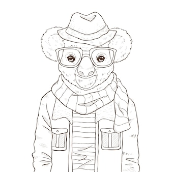 Retro moda ręcznie rysować ilustrację koali, czarno-biały le
