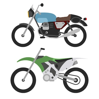 Retro motocykl i motorcross rower na bielu