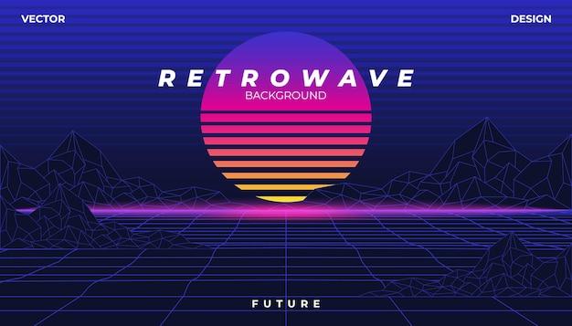 Retro neon cyber tła krajobraz 80s styled.
