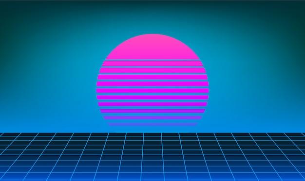 Retro neon słońce tło
