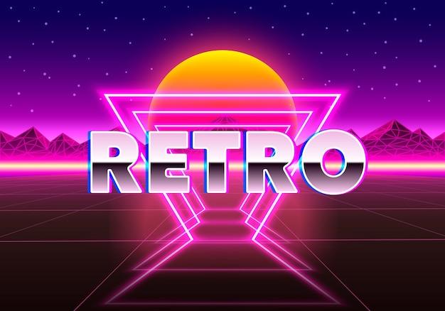 Retro neonowe tło miasta. neonowy styl lat 80. ilustracja wektorowa