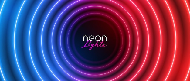 Retro Neonowy Okrągły Niebieski I Czerwony Baner świetlny Darmowych Wektorów