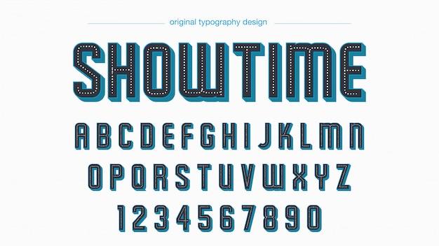 Retro niebieska czarna pogrubiona typografia