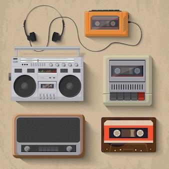 Retro odtwarzacz muzyczny ikony ilustracji wektorowych