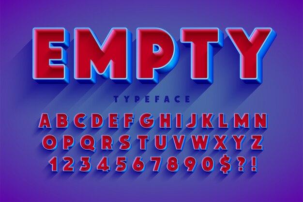Retro oryginalny projekt czcionki 3d, alfabet