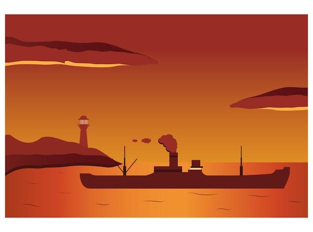 Retro parowiec suchy statek towarowy w porcie o zachodzie słońca latarni morskiej