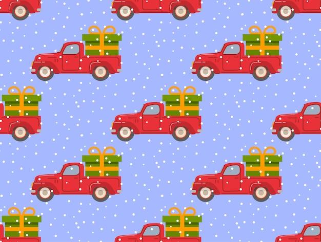 Retro pickup czerwony samochód z zielonym pudełkiem na prezent spadający śnieg boże narodzenie bez szwu deseń