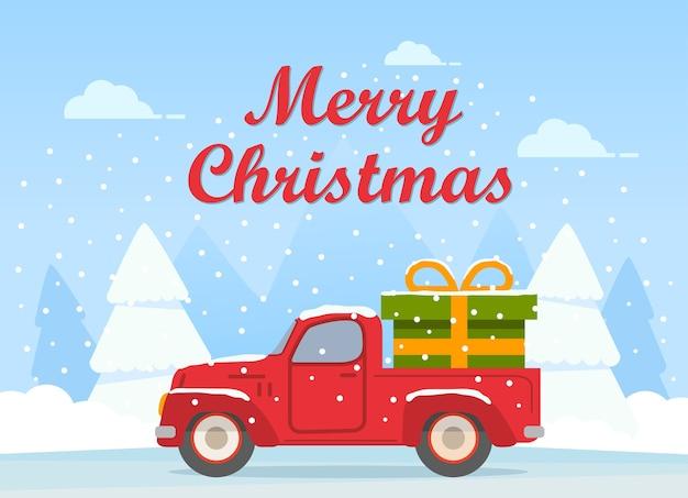 Retro pickup czerwony samochód z zielonym pudełkiem na prezent szczęśliwego nowego roku