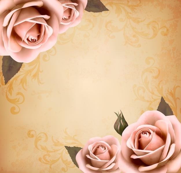Retro piękne różowe róże z pąkami