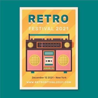 Retro plakat ilustrowany wydarzenie muzyczne szablon