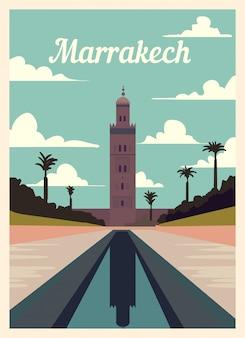 Retro plakat panoramę miasta marrakesz.