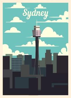 Retro plakat panoramę miasta sydney.