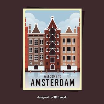 Retro plakat promocyjny amsterdamu