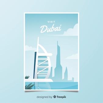Retro plakat promocyjny dubaju