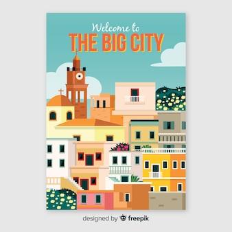 Retro plakat promocyjny dużego miasta