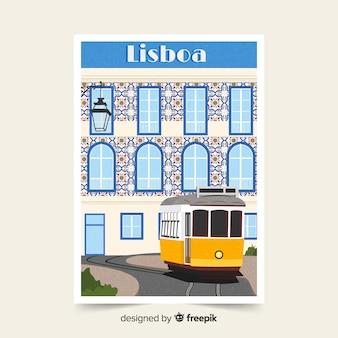Retro plakat promocyjny lizbony