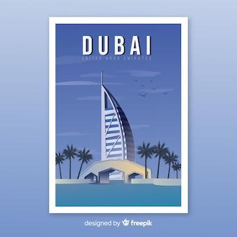 Retro plakat promocyjny szablonu dubaju