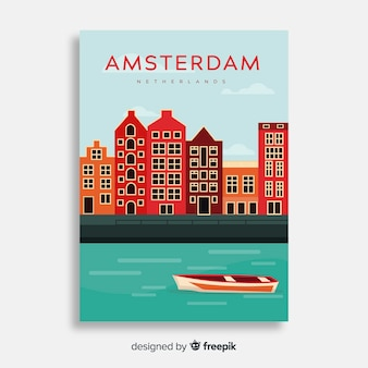 Retro plakat promocyjny szablonu miasta