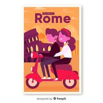 Retro plakat promocyjny szablonu rzymu