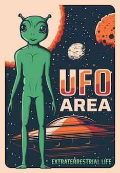 Retro plakat przedstawiający kosmitę, ufo i statek kosmiczny, przybysz pozaziemski z zieloną skórą i wielkimi oczami.