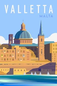 Retro plakat w stylu art deco. valletta malta.