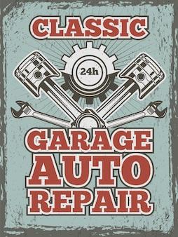 Retro plakat z motywem samochodowym z ilustracjami różnych narzędzi mechanicznych i szczegółów