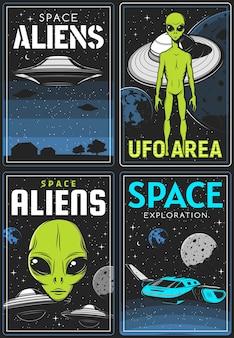 Retro plakaty z obszarem kosmitów i ufo