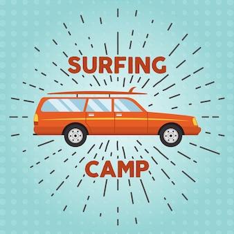 Retro płaski samochód surfowania, deski surfingowe. rocznika samochodu z sunbursts