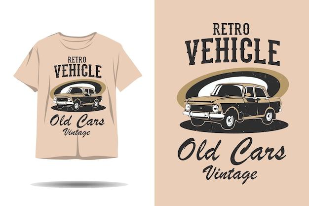 Retro pojazd stare samochody vintage sylwetka projekt koszulki