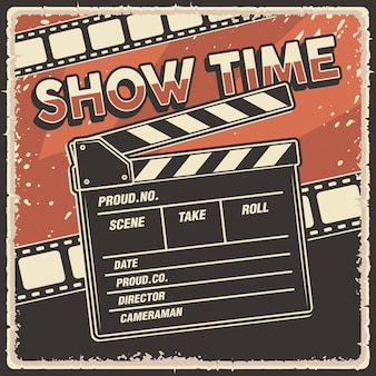 Retro poster movie show time with clapperboard