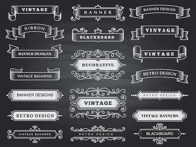 Retro poziome bannery. kolekcja vintage ozdoba ozdobna rama wstążka rozkwit.
