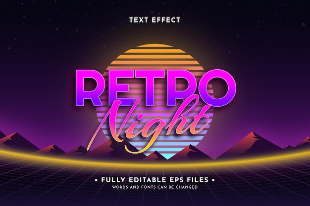 Retro projekt efektu tekstu neonowego