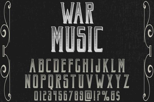 Retro projekt etykiety alfabetu wojny musik