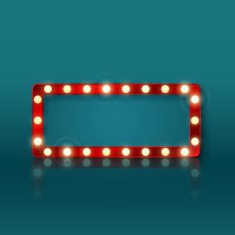 Retro prostokątny transparent znak z czerwoną ramką i świecącymi żarówkami. kolorowy vintage billboard reklamowy z miejscem na tekst i refleksji.