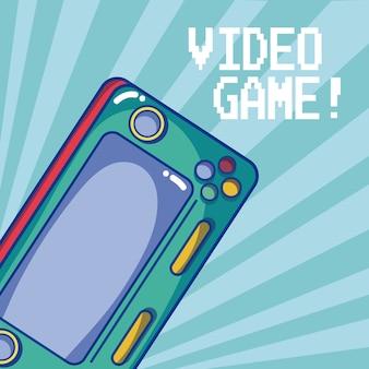 Retro przenośnego gra wideo wektorowy ilustracyjny graficzny projekt