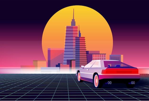Retro przyszłość. tło science fiction z supersamochodem. futurystyczny samochód retro.