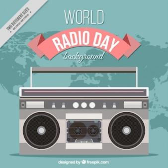 Retro radio świecie dzień tło w płaskiej konstrukcji