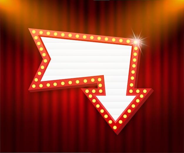 Retro rama vintage billboard lightbox. lightbox z możliwością dostosowania. klasyczny baner na twoje projekty lub reklamy.