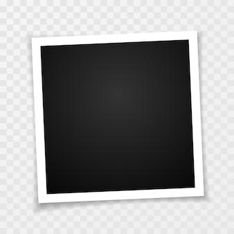 Retro ramka na zdjęcia z cieniami na przezroczystym tle